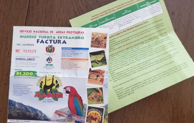 Paper tickets for entrance to Bolivia National Park
