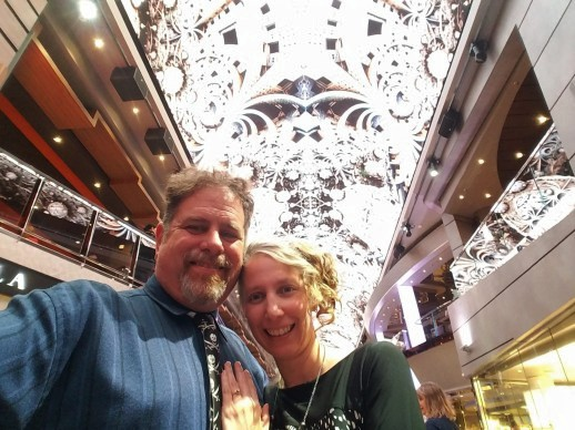 posing under the dome on Formal Night on MSC European Cruise