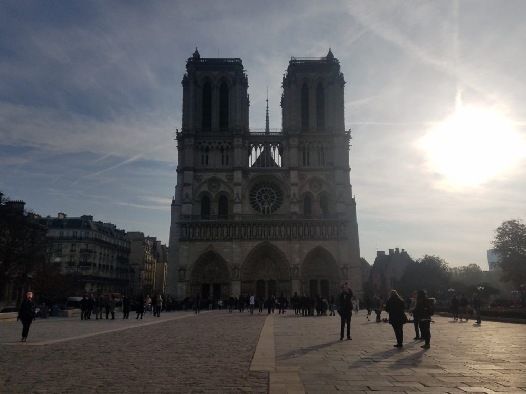 Notre Dame Cathedral in Paris in the morning sunlight