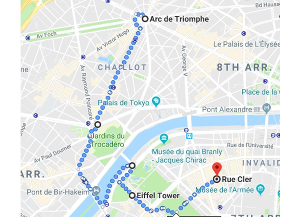 Map to Eiffel Tower