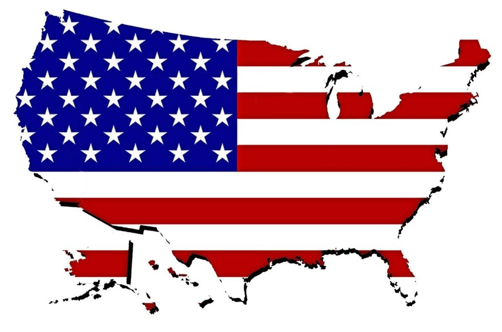 Patriotic Map of the USA