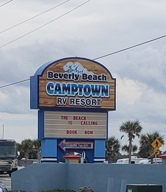 sign for Beverly Beach Camptown - beachfront camping in Florida