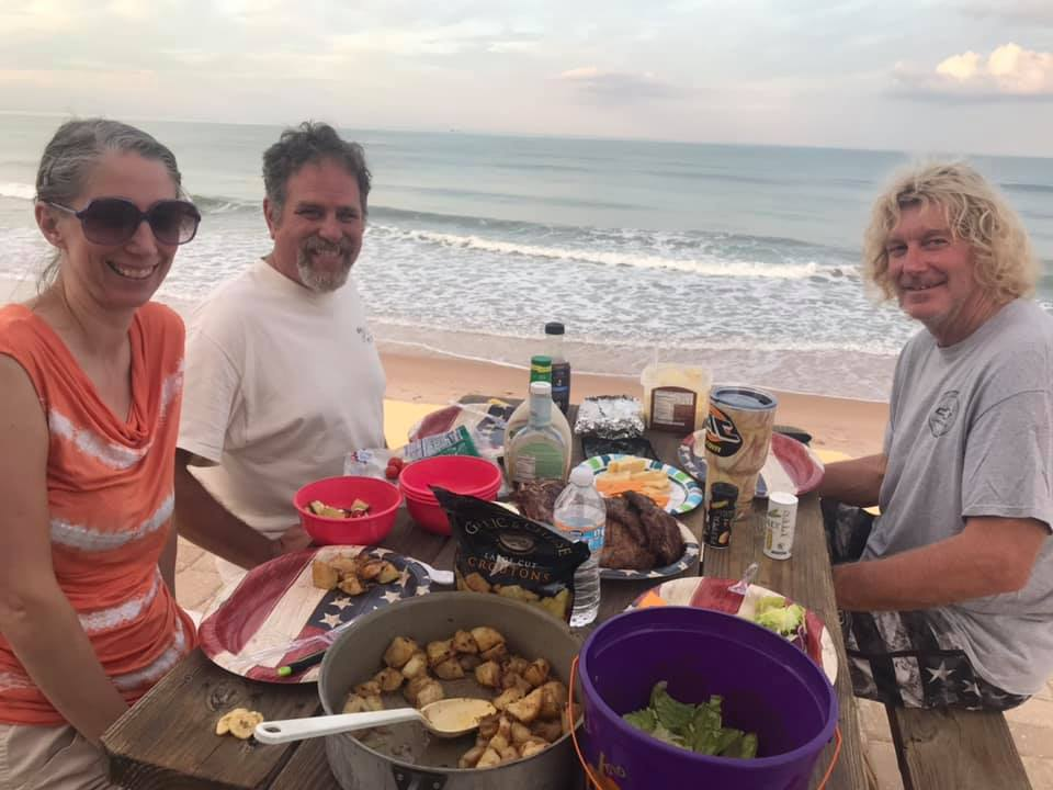 picnic right at the oceanfront on the beach at Flagler Beach