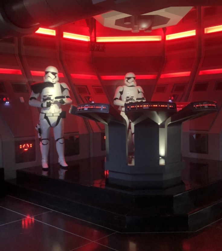 Stormtroopers wait outside the interrogation room at Star Wars Galaxy's Edge