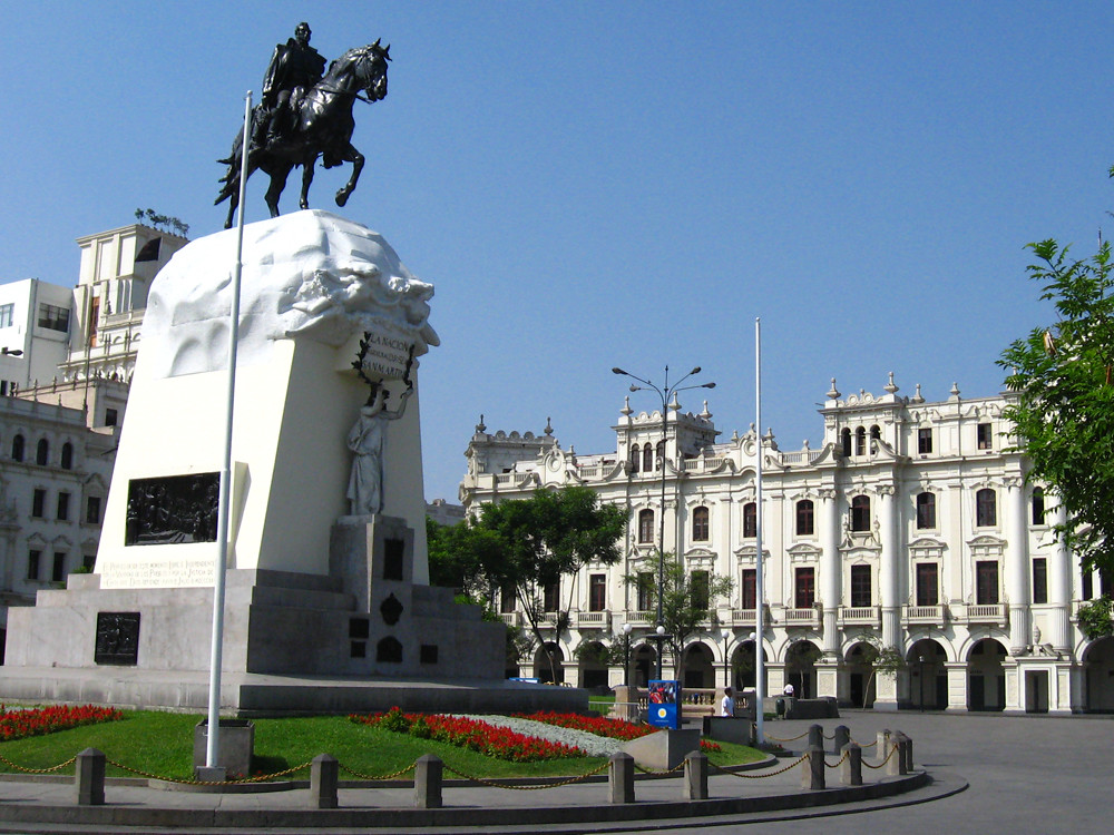 Square and statue in the city of lima on a one day tour in lima peru