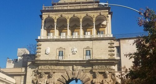 arch in Palermo Sicily with beautiful sculptures on it