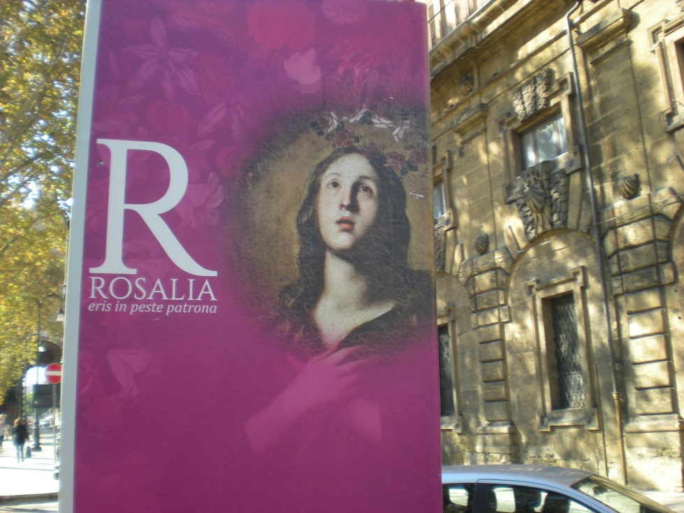 banner in the street of Palermo with Saint Rosalia the patron saint of Palermo