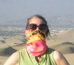 Protection from sand by wearing a buff to cover my nose and mouth