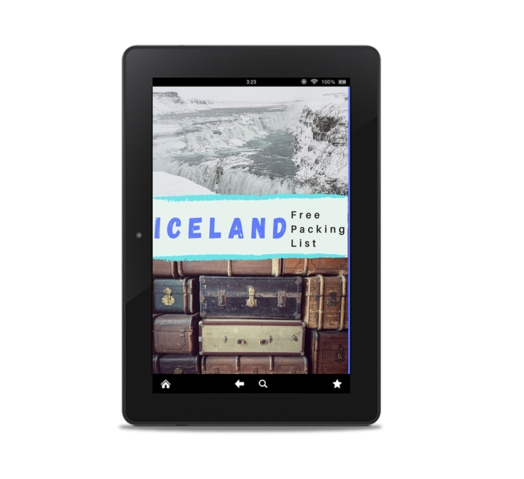 Ipad with Iceland photo and suitcases for packing list