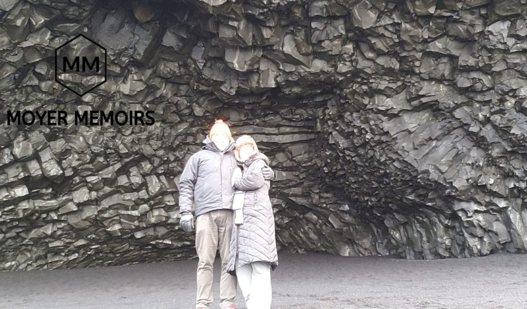 in cave on black sand beach