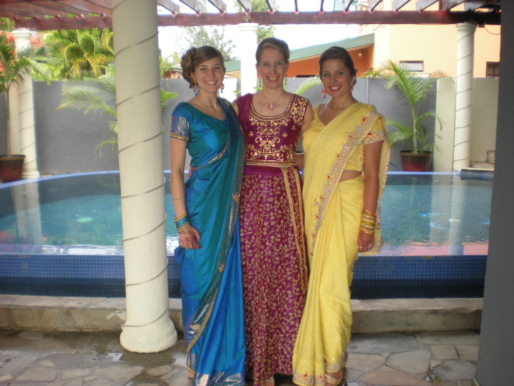 michelle and daughters dressed for hindu wedding in trinidad