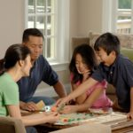 family playing a travel board game