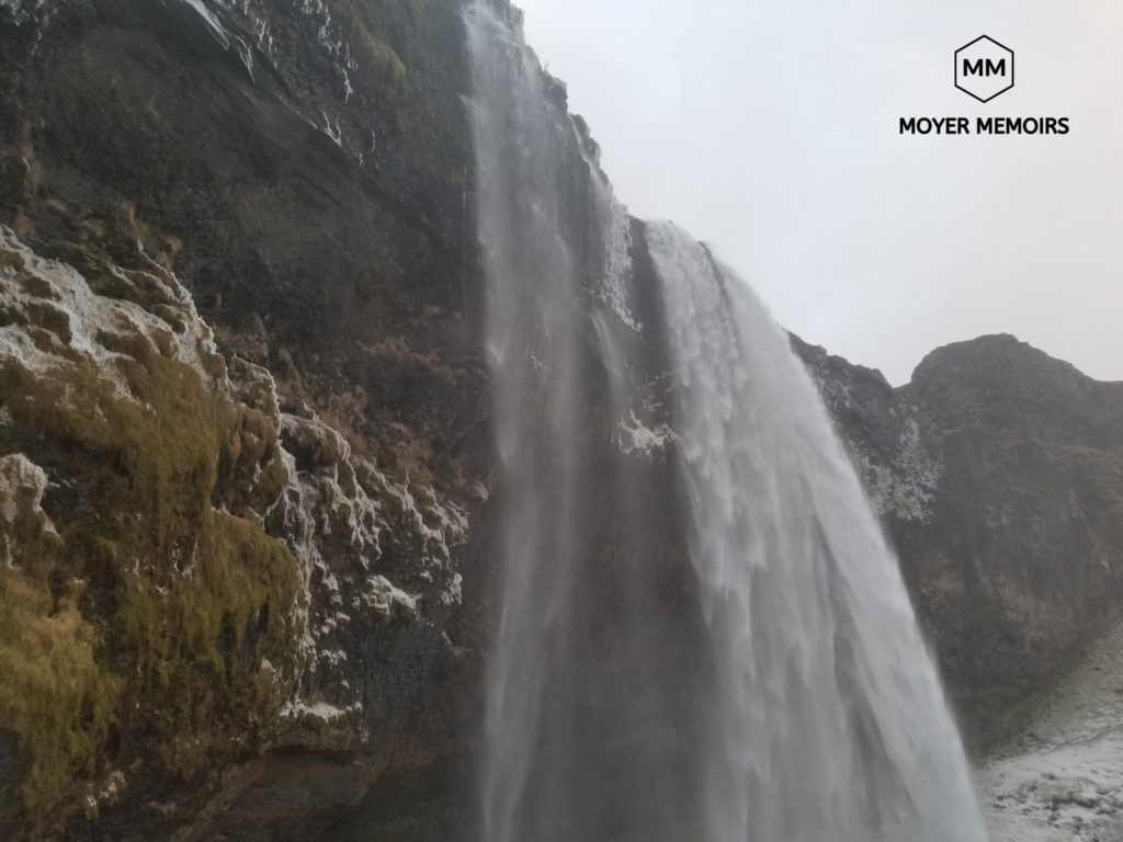 waterfall on south coast in iceland on ring road tour