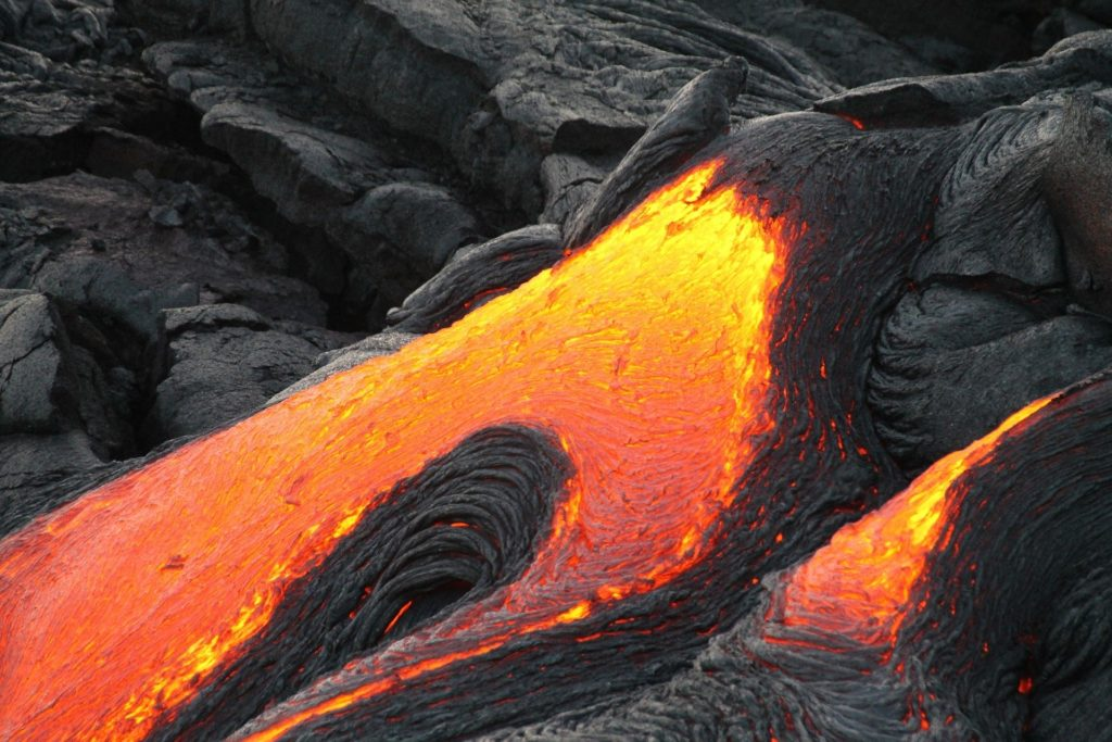 lava flowing from volcano