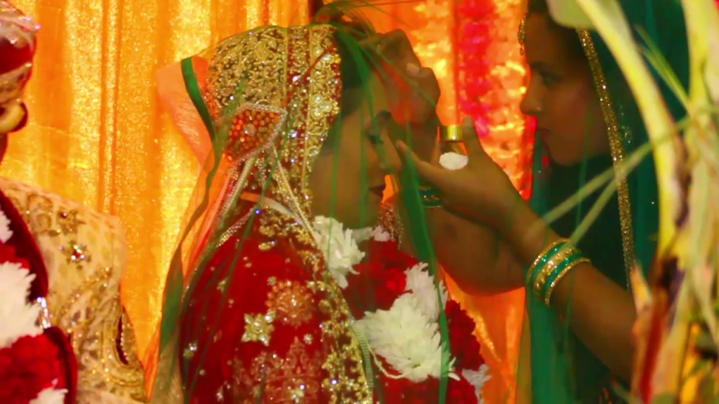 applying Sindoor at a Hindu wedding in Trinidad