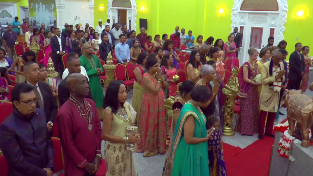 audience at hindu wedding in Trinidad