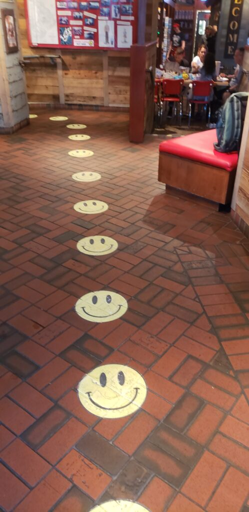 smiley faces on the floor