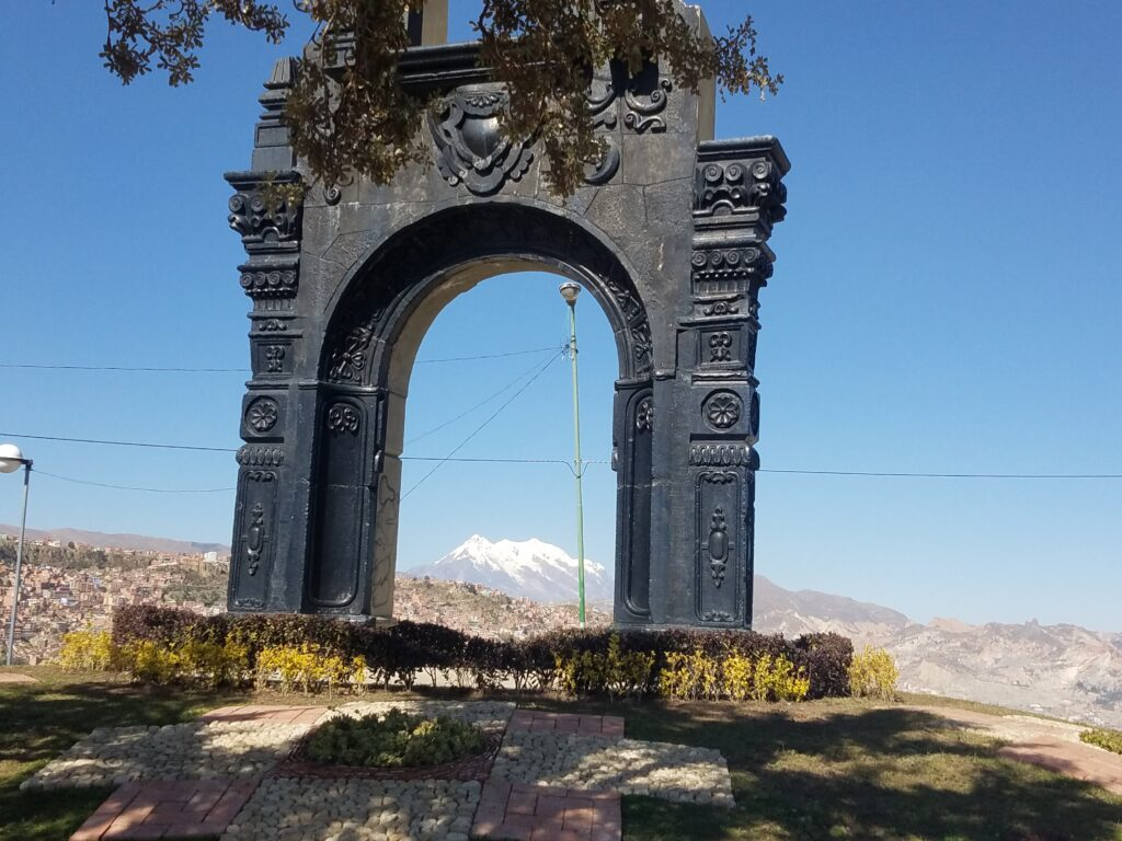 arch and gardens overlooking La PAz