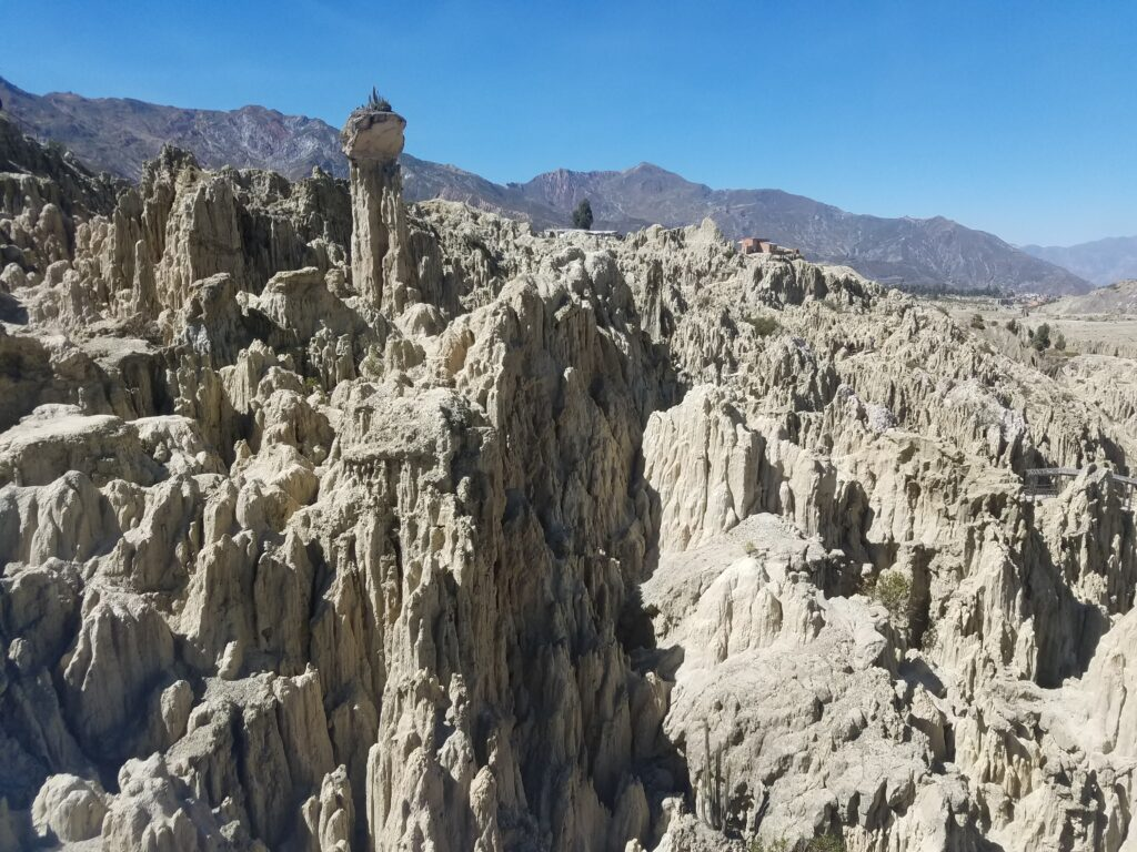 crevasses and peaks at moon valley in la paz