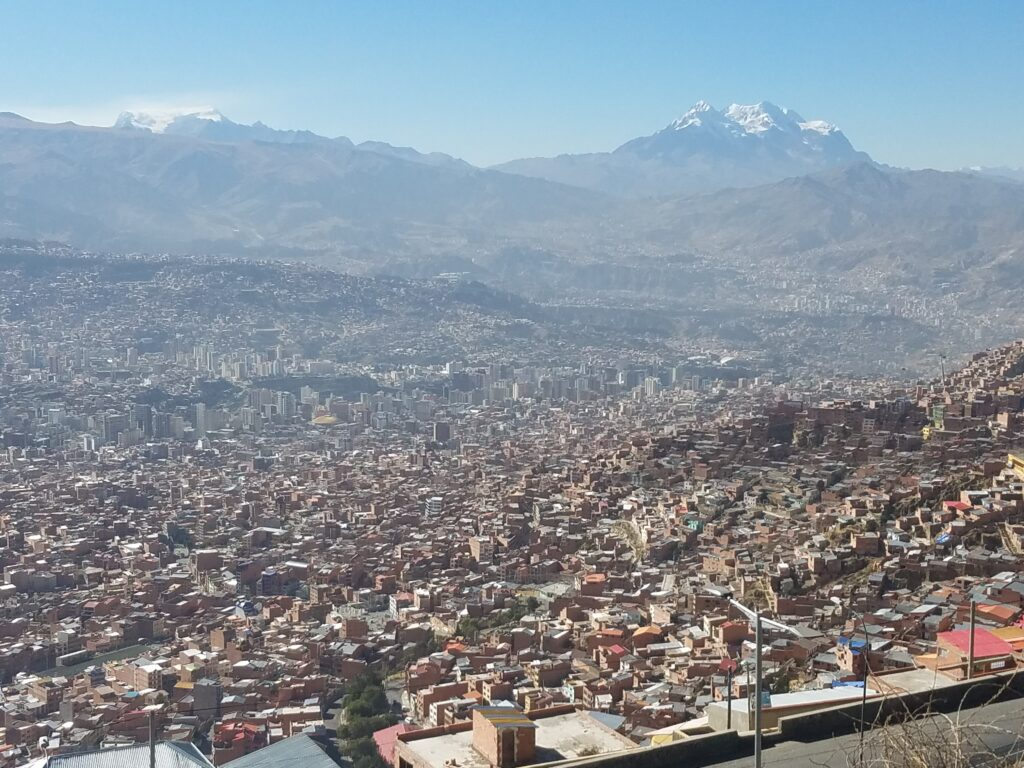 beautiful view from the top of the hill at El Alto in Bolivia
