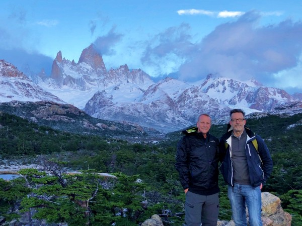 mountains in background on this 50th birthday trip to Patagonia
