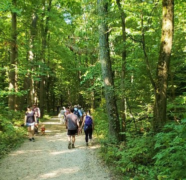 hikers on the towpath trail