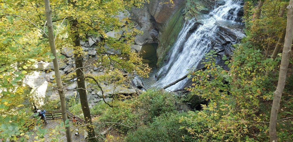 view from high above brandywine falls in cuyahoga valley national park