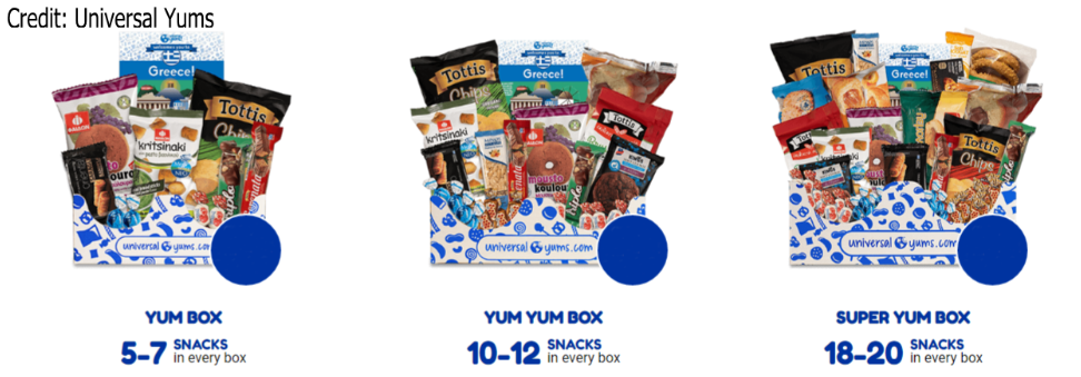 Options for Universal Yums box sizes