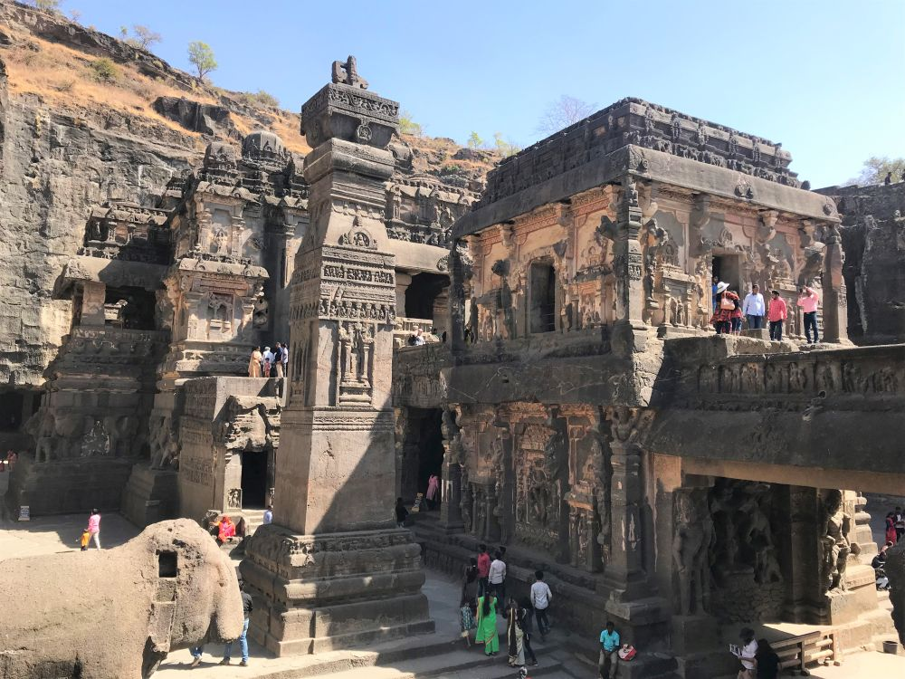 entrance of Ellora Caves - Hindu temples in India
