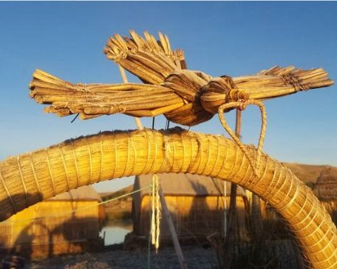 bird made of reeds decorating a boat on lake titicaca in peru