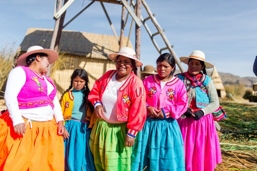 Uros people on the floating island in peru