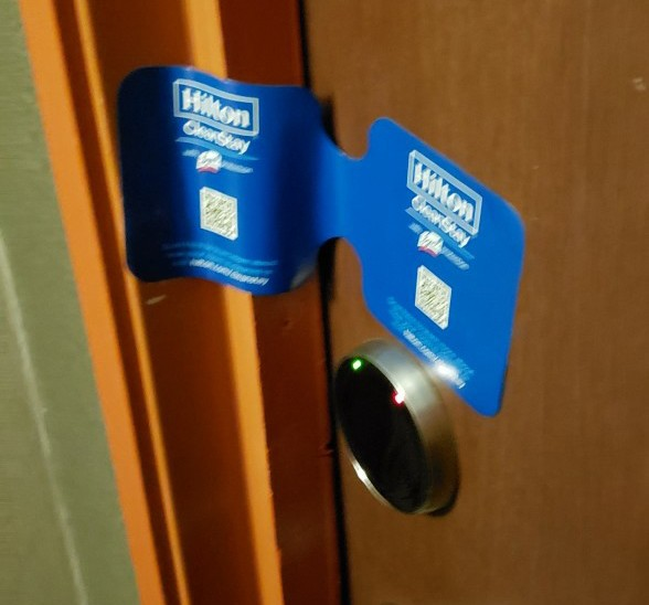 sanitize strip across the door at the curtis hotel in denver