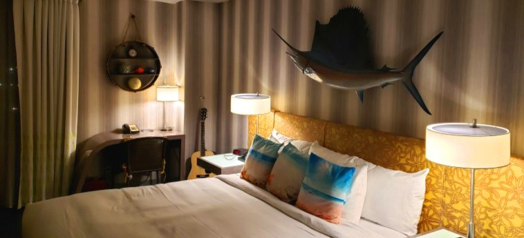 Bed and pillows in Curtis hotel room