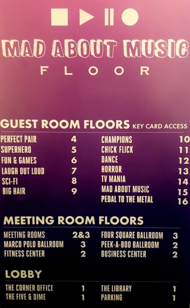 sign with a list of all the themes on each floor of the Curtis Hotel in Denver