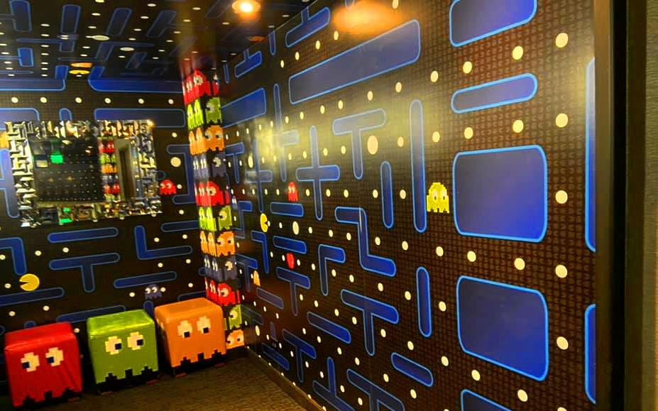 Pacman games on the wall in Curtis Hotel in Denver