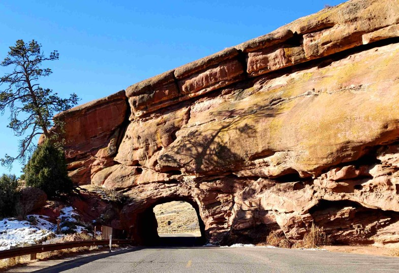 red rocks tunnel to upper parking lot