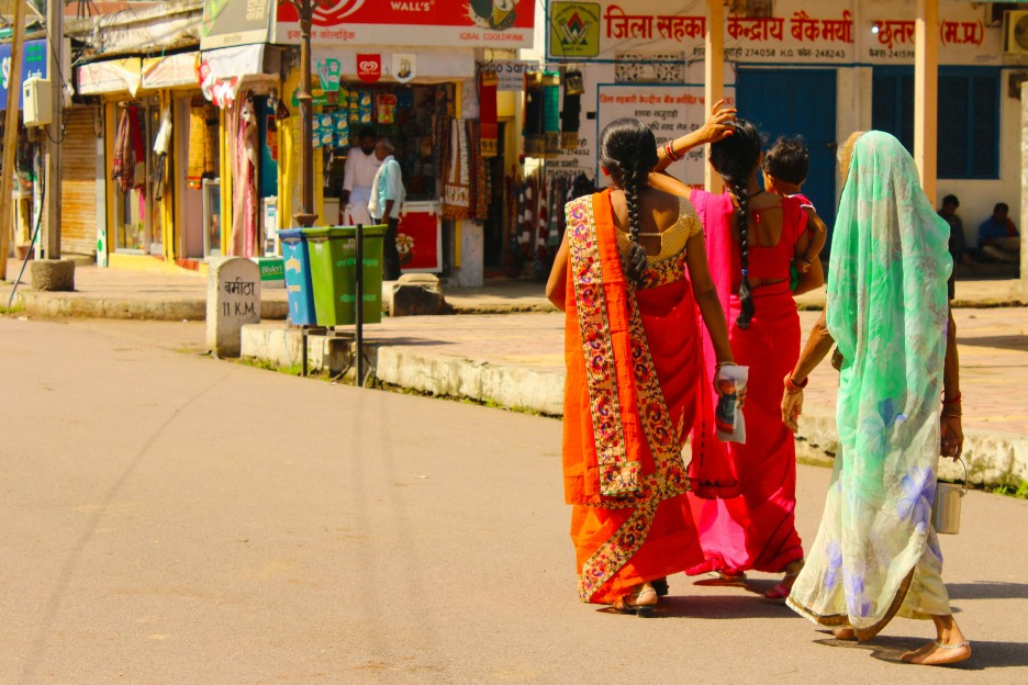 women walking at Indian Market street