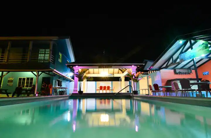 night view of pool at Beach house in trinidad and tobago