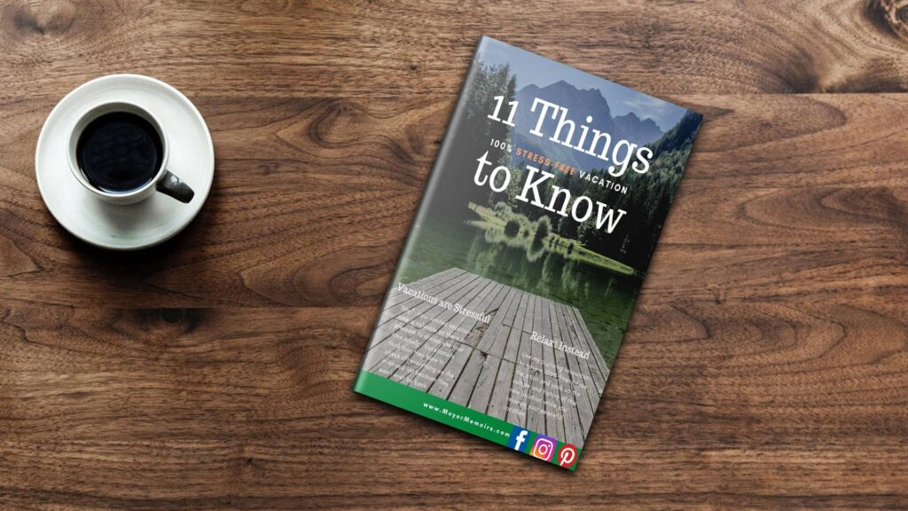 stress-free vacation planning book on a wooden table