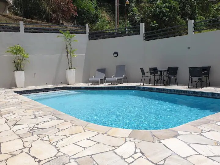 pool at a family apartment in Trinidad