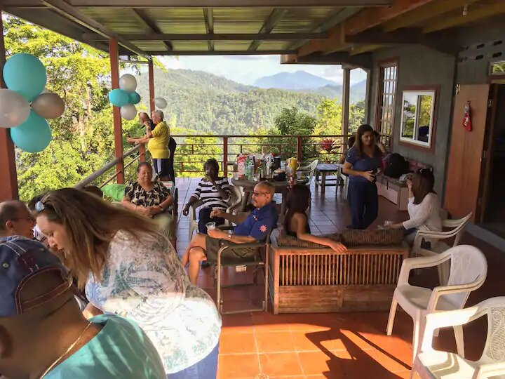 family get together at the guest house in trinidad