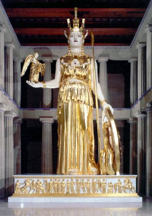 sculture of greek goddess at the Parthenon in a park in Nashville