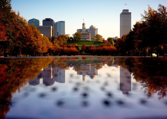 water and buildings overlooking Bicentennial Mall in Nashville Tennessee