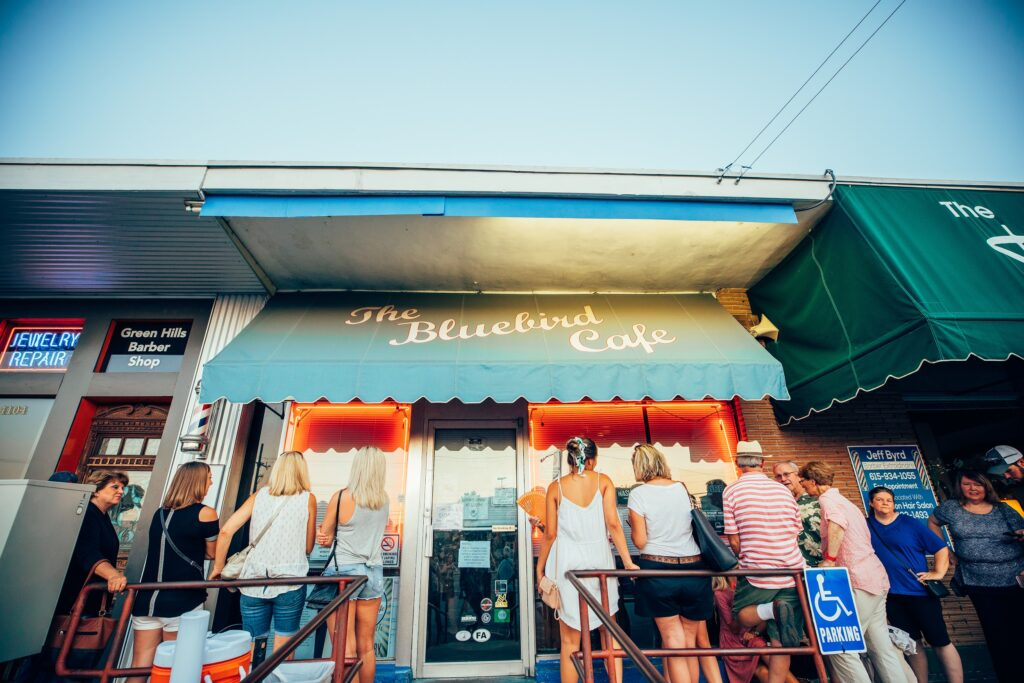 people in front of Bluebird Cafe in Nashville