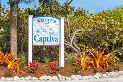 Captiva Island Sign for a relaxing vacation destination for empty nesters