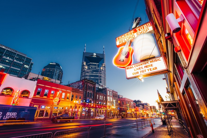 neon lights on Broadway for a weekend vacation in Nashville Tennessee