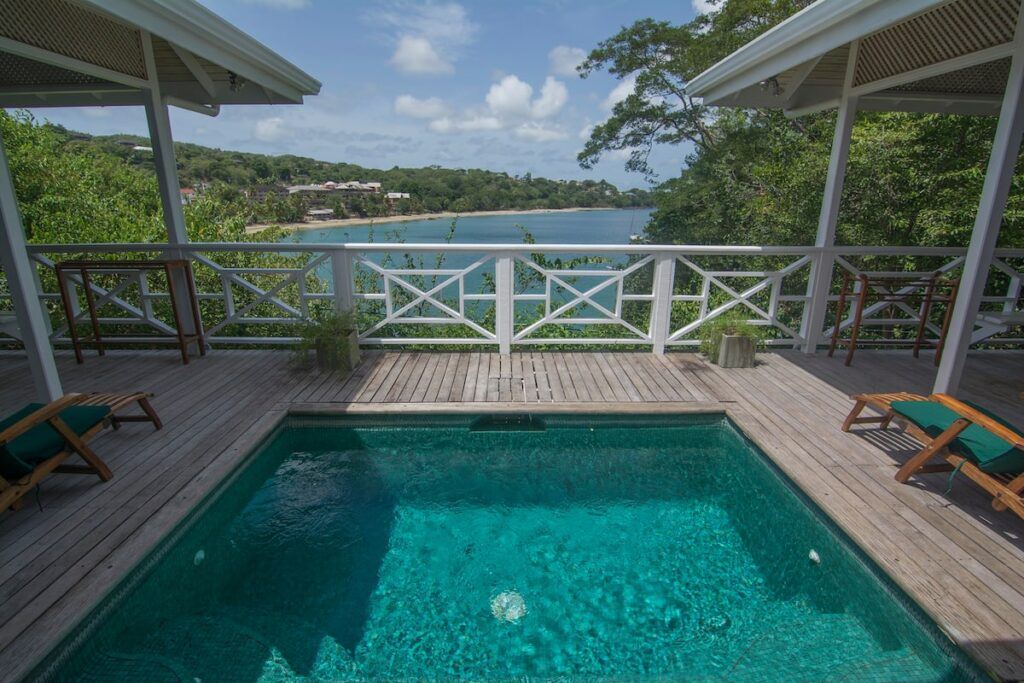 pool overlooking the sea at Licorish by the sea - Guest houses in Tobago with swimming pool