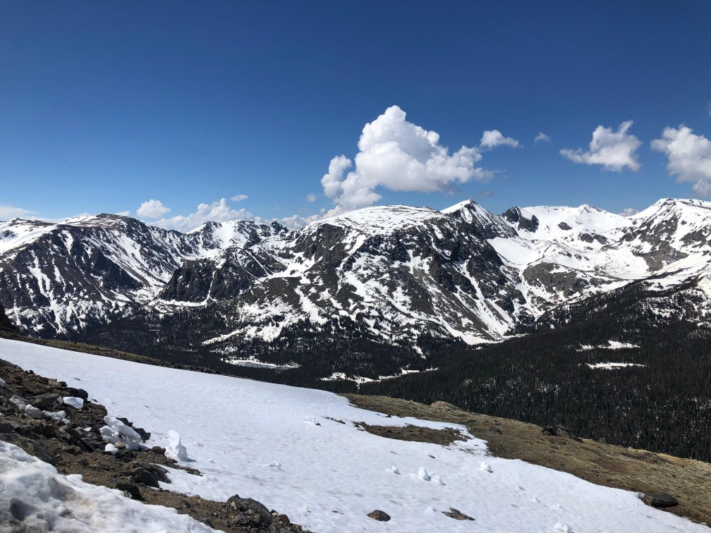 snow on the mountains at Rocky Mountain National Park Relaxing US trip destination