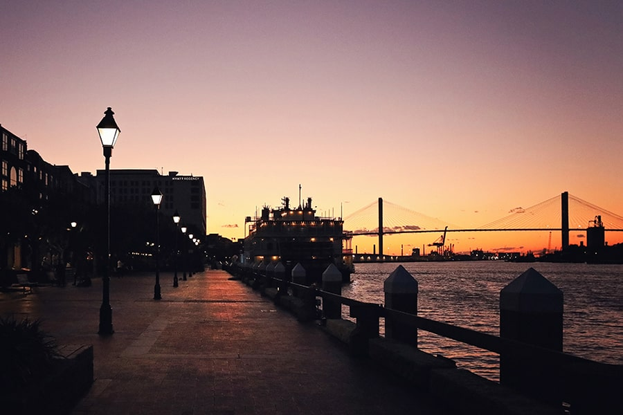 sunset over Savannah Street during a relaxing empy-nest vacation in the US