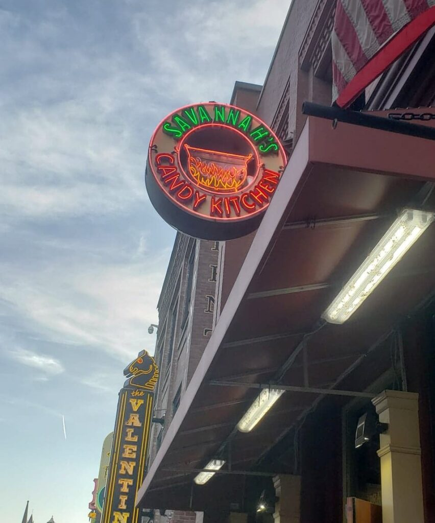neon sign for Savannahs Candy Kitchen in Nashville
